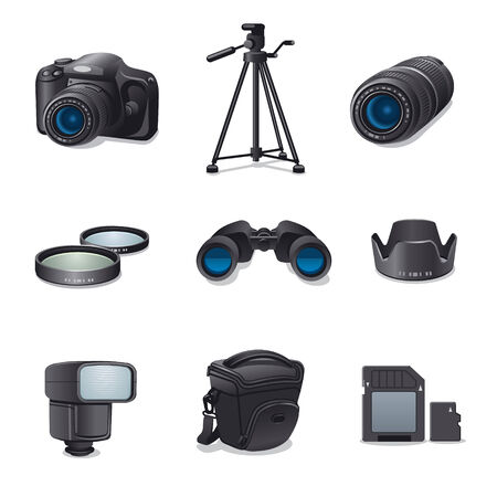 tripods: photo accessories icon set