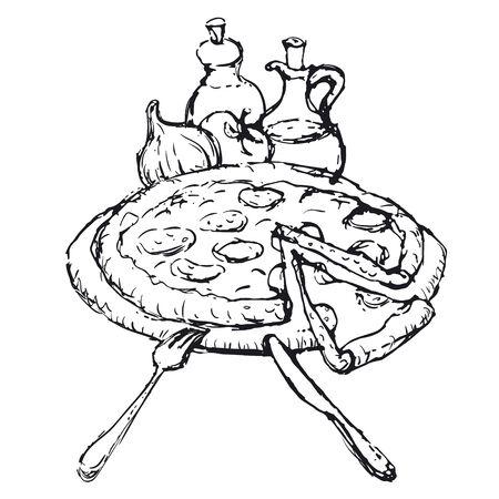 mozzarella cheese: pizza sketch