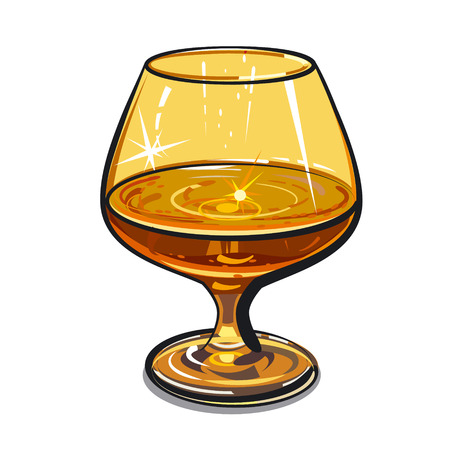 cognac: glass of cognac Illustration