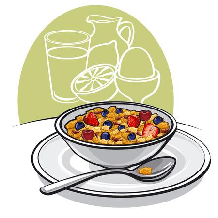 healthy breakfast Иллюстрация