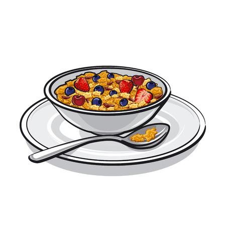 ミューズリーの朝食に  イラスト・ベクター素材