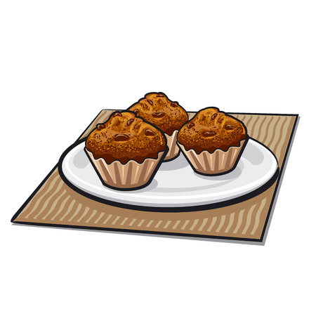 homemade bread: muffins on a plate