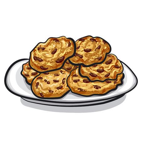 オートミール クッキー  イラスト・ベクター素材