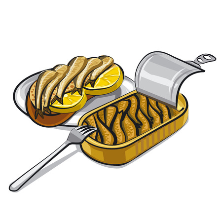 canned: sprats in oil Illustration