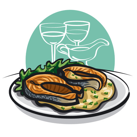 grilled salmon: Grilled salmon with sauce Illustration