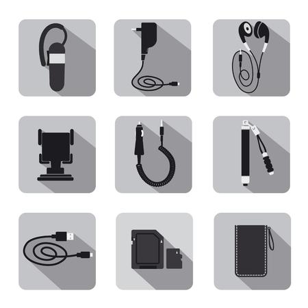 cable telefono: accesorios móviles conjunto de iconos en escala de grises
