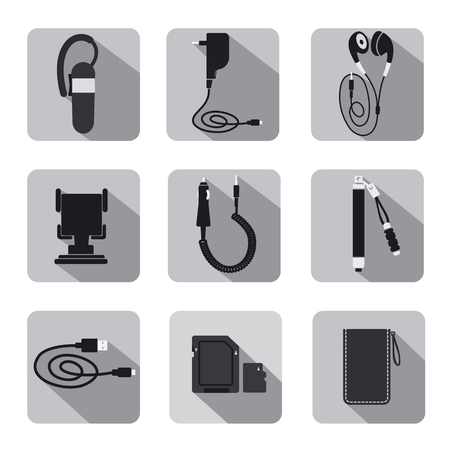 mobile accessories: mobile accessories icon set gray scale Illustration