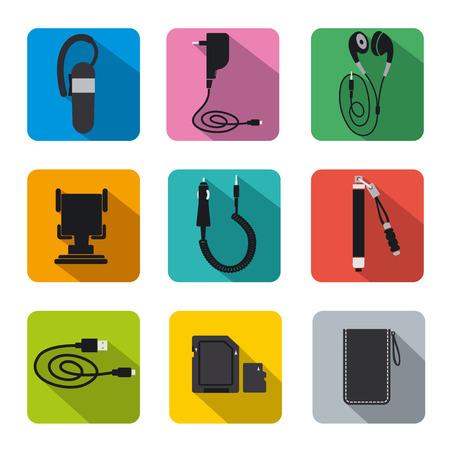 Conjunto de iconos de accesorios de telefonía plana Foto de archivo - 26928395