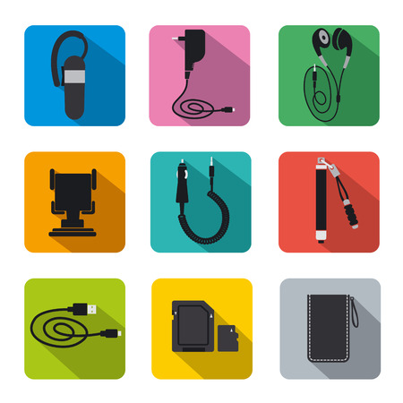 cable telefono: conjunto de iconos de accesorios de telefonía plana Vectores