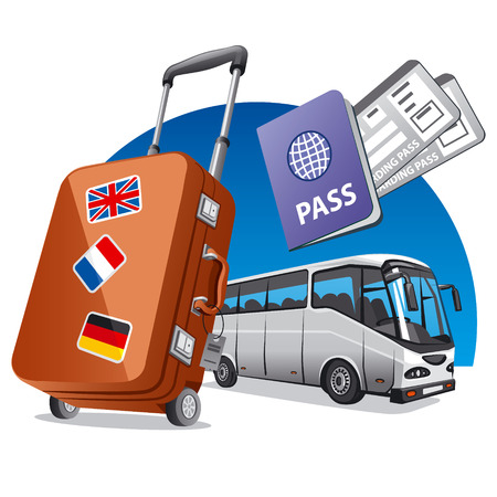 bus travel 向量圖像