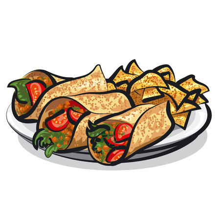 fajitas and tacos Иллюстрация