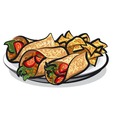 tortilla chips: fajitas and tacos Illustration