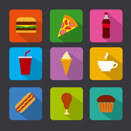 comida rápida: fast food icon set