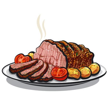 roast beef with potatoes Vector