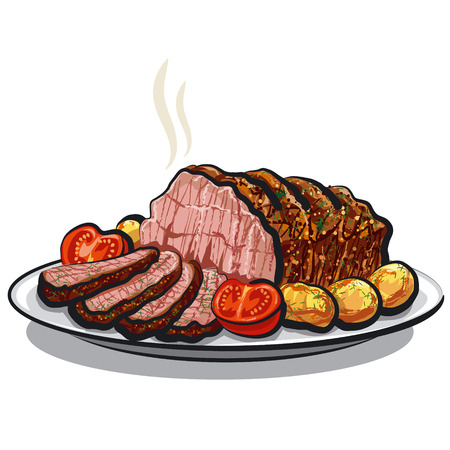 cooked meat: roast beef with potatoes