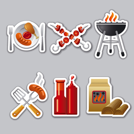 charcoal grill:  barbecue stickers Illustration