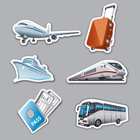 luggage tag: travel stickers Illustration