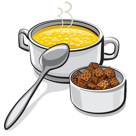 soup spoon: chicken soup with croutons
