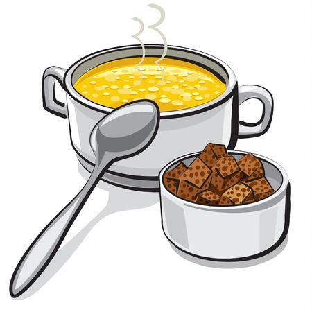 sopa de pollo: sopa de pollo con picatostes