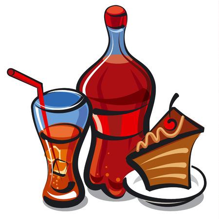 soda bottle: cola and cake Illustration