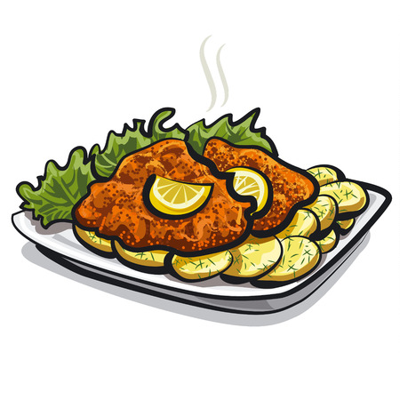 roasted schnitzel Vector