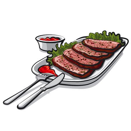 steak plate: roastbeef with sauce Illustration