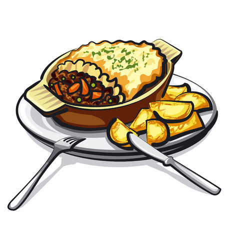 baked potato: sheppards pie Illustration