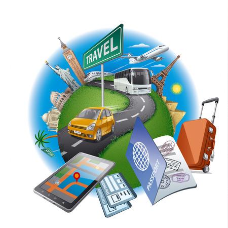 world travel concept 向量圖像