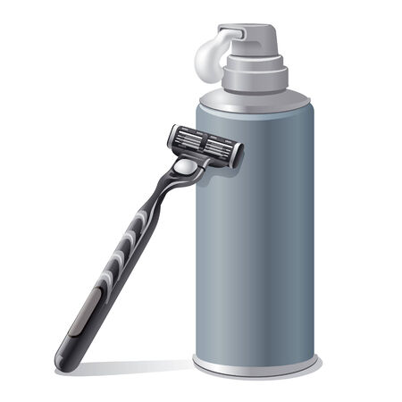 shaving: shaving cream with a shaver