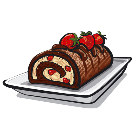 sweet sauce: chocolate roll cake with strawberry