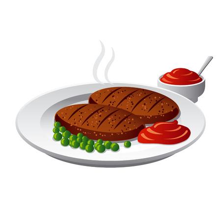 carne picada: chuletas con salsa