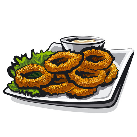 pescado frito: anillo de calamar frito Vectores