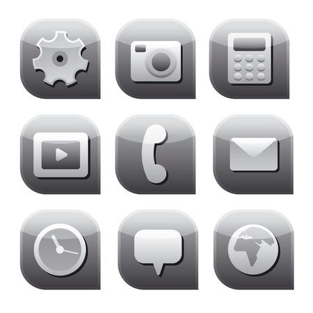 interface icon set gray Vector