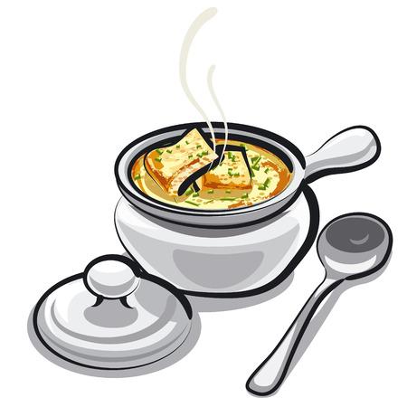 onion soup Illustration