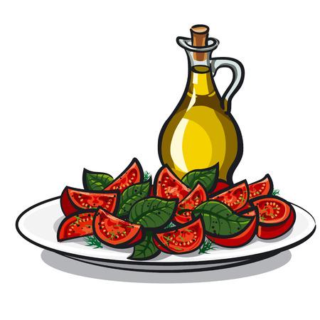 basil leaf: salad with basil Illustration
