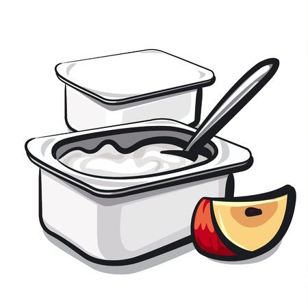 yogurt with apple Illustration