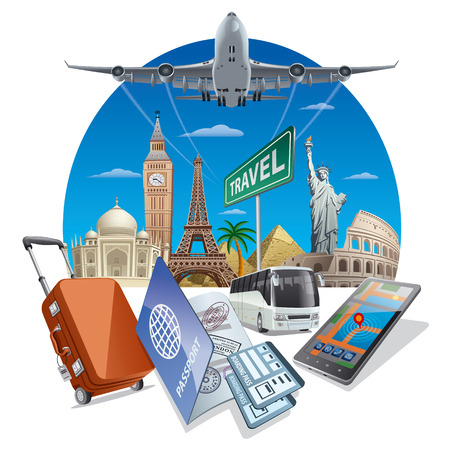 pasaportes: servicios de viajes Vectores