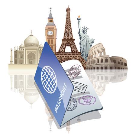 paspoort en bezienswaardigheden Vector Illustratie