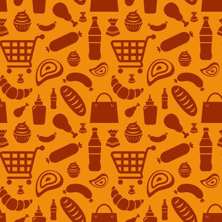 veal sausage: food pattern Illustration