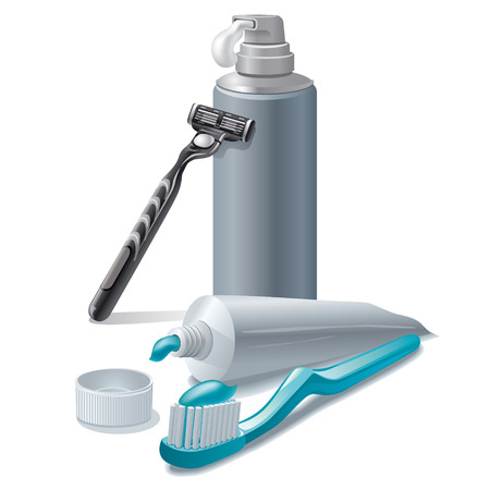 toothpaste and shaving foam Illustration