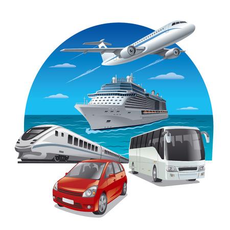여행: 여행 교통 일러스트