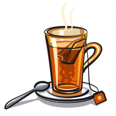 black tea: glass of black tea