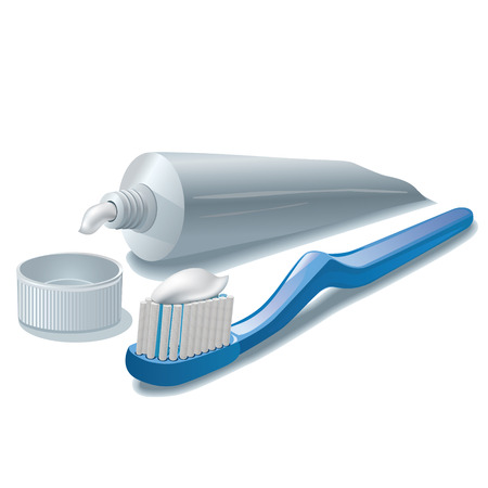 fluoride: toothpaste and toothbrush Illustration