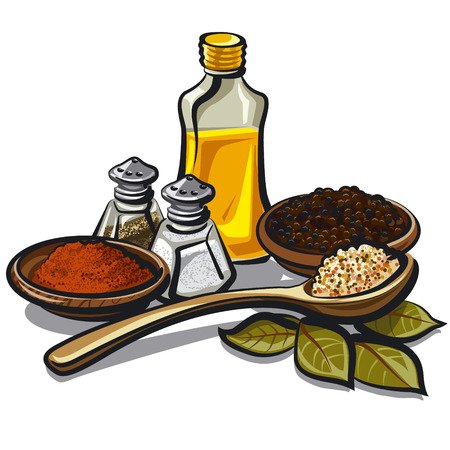 flavoring: condiments and flavoring Illustration