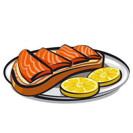 salmon: salmon sandwich Illustration