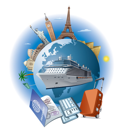 cruise reizen schip Stock Illustratie