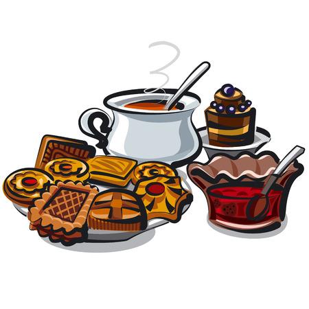 sugar cookies: tea and cookies Illustration