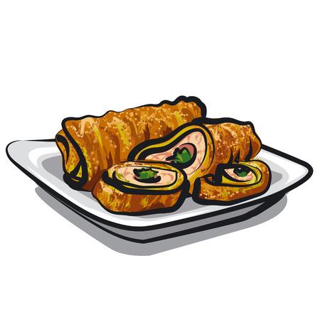 rolls: chicken rolls Illustration
