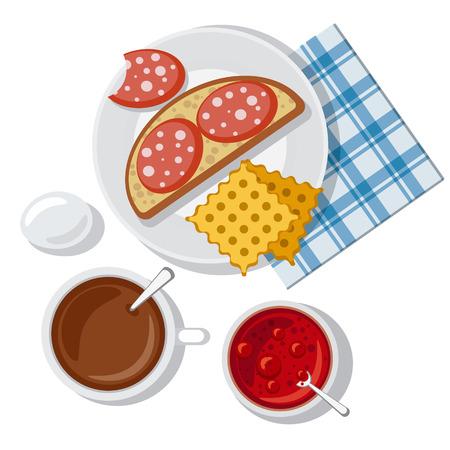 jam sandwich: breakfast with sausage Illustration