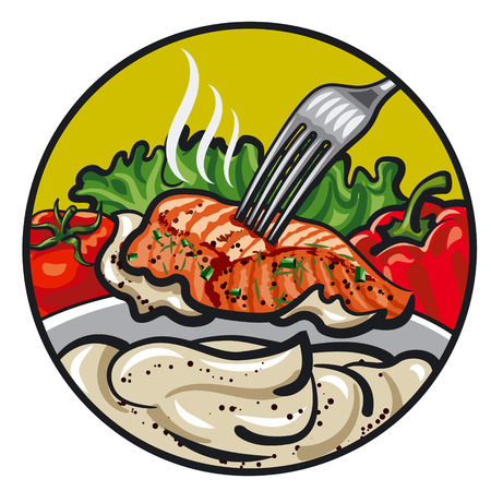 salmon fillet: grilled fish with sauce Illustration